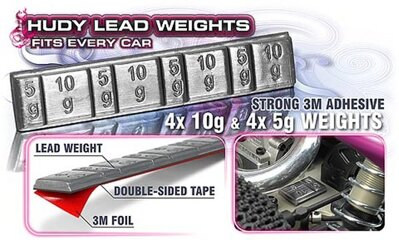 LEAD WEIGHTS 4x5g & 4x10g WITH 3M GLUE